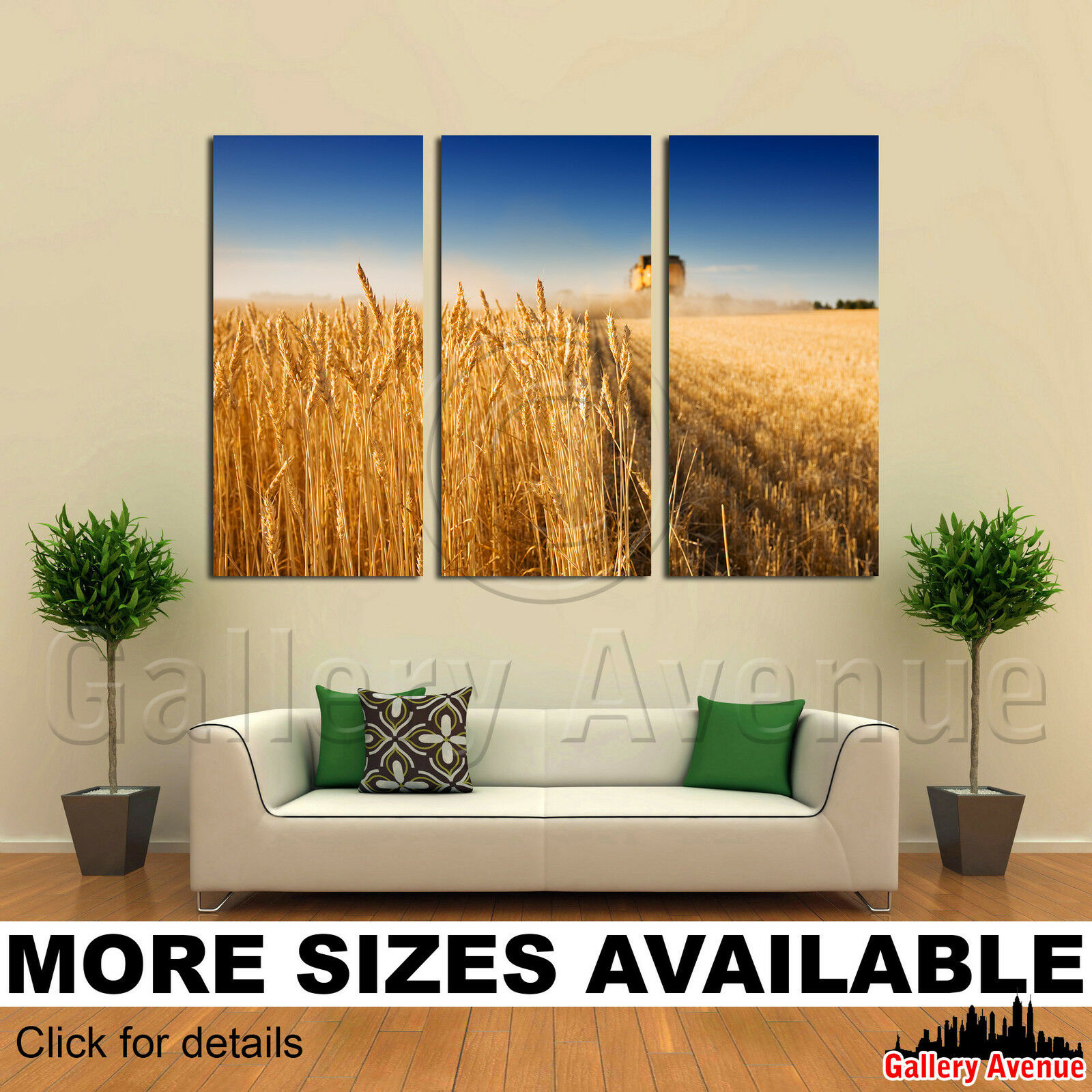 3 Panel Canvas Picture Print - Combine Harvester working in a wheat field 3.2