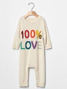 GAP Baby Boys Girls Size 3-6 Months Ivory Love Sweater One-Piece Bodysuit Romper