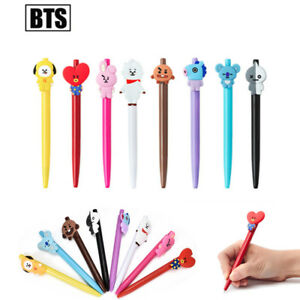 Kpop-BTS-BT21-Cartoon-Ballpoint-Pen-Jungkook-Tata-Suga-Black-Ink-Gel-Pen-Hot