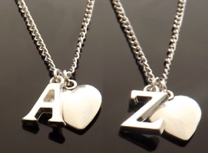 8e8839ea1a22d8 Image is loading Personalised-Initial-Necklace-with-Heart-Pendant-and-Silver -