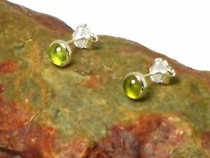 Round-PERIDOT-Sterling-Silver-925-Gemstone-STUD-Earrings-4-mm-Boxed