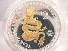 2012 1 oz Silver Proof Lunar Dragon Gilded New Zealand Mintage number under 500