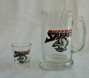 Lot-of-2-BUFFALO-SABRES-GLASSES-Beer-Stein-Mug-and-Shot-Glass-NHL-Hockey