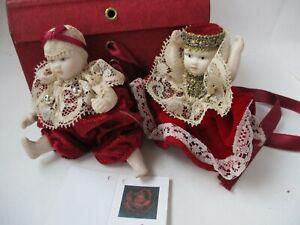 Rare Sognodirosa Porcelain Christmas Boy & Girl Dolls #2 from Italy  MIB