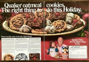 1987 Quaker Oatmeal Holiday 2pg PRINT AD Cookies Brownies Wilford Brimley