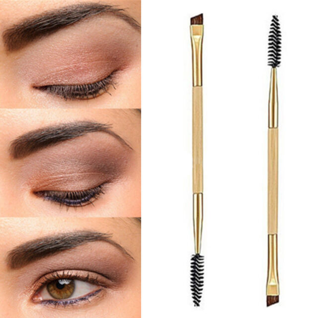 Double Eyebrow Brush + Eyebrow Comb Cosmetic Bamboo Handle Brushes Makeup Best