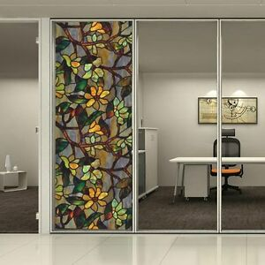 Image is loading 3D-Static-Cling-Frosted-Floral-Stained-Glass-Window- & 3D Static Cling Frosted Floral Stained Glass Window Door Sticker ...