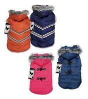 Elements Coat Dog Jacket W Fur Trimmed Removable Hood Eskimo Puffy Snow Parka