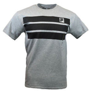 FILA-Men-039-s-T-shirt-Athletic-Sports-Apparel-Black-Stripes-Athletic-Heather-Gray