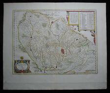 1647 Original Antique Blaeu Map Le Mans Maine of France Full Margin Excellent