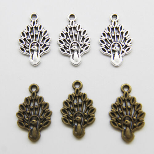 100pcs Peacock  Tibet Silver Charms Pendant DIY Jewelry Accessories 19*12mm