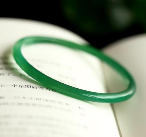 Vintage Chinese Natural Icy Green Jadeite Jade A Grade Bangle Bracelet 54-55mm