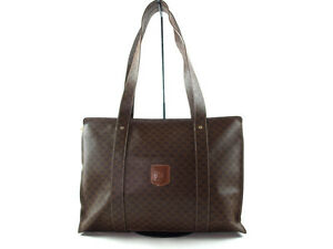 7d4f2d9c11ff Image is loading Authentic-CELINE-MACADAM-PVC-Canvas-Leather-Browns-Tote-