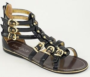 Gladiator designer inspired ROMAN ankle strappy flat Black PATENT sandals shoes