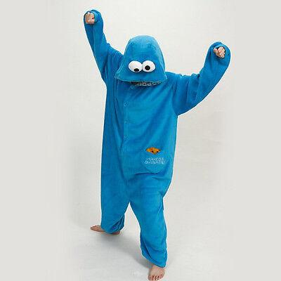 New Unisex Adult Elmo Cookie Monster Sesame Street Costume Kigurumi Pyjamas Hot