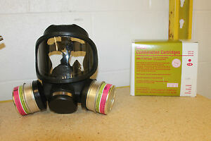 MSA-ULTRAVUE-FULL-FACE-GAS-MASK-2-GME-P100-FILTERS-NEW-MEDIUM