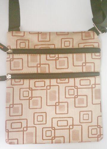 3 Zipper Brown Square  Prints Messenger Shoulder HandBag Crossbody Women Bag