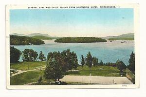 EAGLE-ISLAND-NY-Saranac-Lake-Algonquin-Hotel-Vtg-View