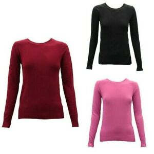 Women-039-s-Ladies-Knitted-Crew-Neck-Jumper-Sweater-Knitwear-Pullover-Cotton-Blend