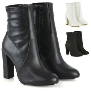 Womens-Block-Heel-Ankle-Boots-High-Rise-Ladies-Chelsea-Stretch-Sock-Shoe-Booties