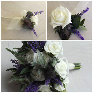 Image Is Loading Thistle Artificial Wedding Flowers Brides Bouquet Bridesmaid Onhole