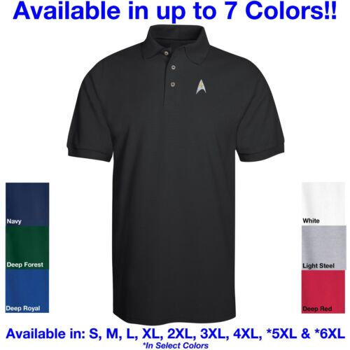 NEW! Star Trek Logo Embroidered Polo in 6 Colors ALL Sizes Kirk, Spock, McCoy