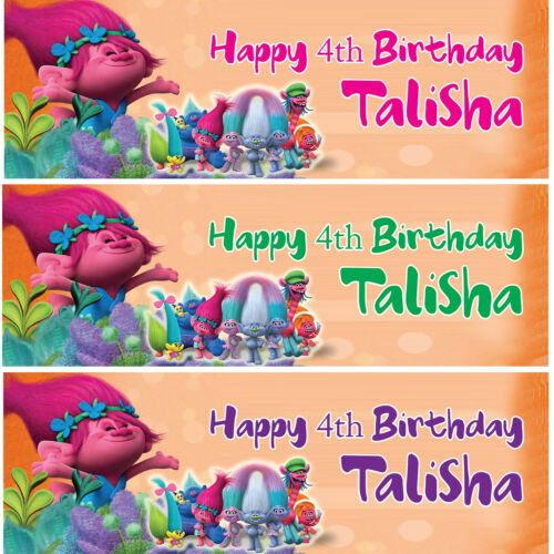 2 Personalised Birthday Trolls Banner Children Kid Party Wall Decoration Poster