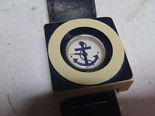 Vintage Esperanto Watch Nautical w/ Anchor Retro Look Boxy w/ Leather Strap