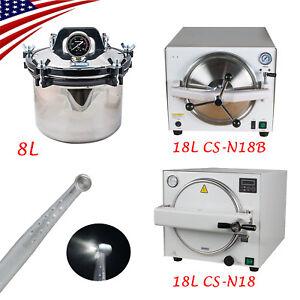 FDA-8L-18L-Medical-Steam-Autoclave-Sterilizer-Dental-Lab-Equipment-Warranty