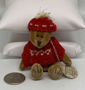 """Wuzzie/"""" Original Hang Tag Red Sweater And Hat Boyds Bears Wuzzie Bear /""""Tassel F"""