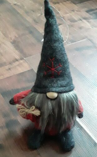 """New With Tag Christmas Gnome Ornament w//String Hangers 9/"""" A2"""