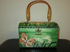 Vintage Handmade Florida Sand Art Butterfly Wooden Box Purse With Lucite Handle