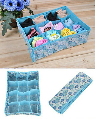 Hot 12 Cell Socks Underwear Ties Drawer Closet Home Organizer Storage Box Case