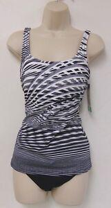 Essentials-by-Gottex-Womens-Black-amp-White-Spirograph-Tankini-2-Piece-Swimsuit