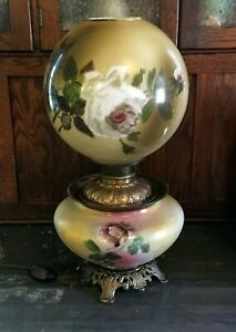 Antique-Gone-With-The-Wind-Hand-Painted-Parlor-Oil-Lamp-Victorian-Era-GWTW