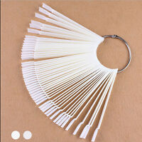 50 Nail Art Tips Colour Pop Sticks Display Fan Clear False Practice starter ring