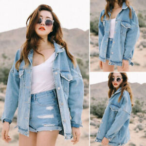Casual-Women-039-s-Retro-Boyfriend-Oversized-Denim-Jacket-Loose-Jeans-Coat-Outwear