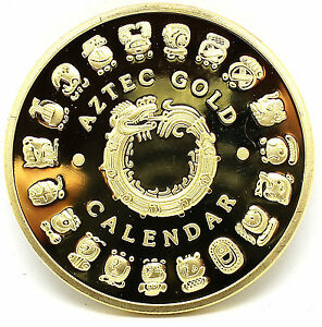 Gold Plated Mayan Aztec Prophecy Calendar Commemorative Coin Art Collection Gift