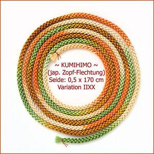 NEU-KUMIHIMO-V-IIXX-Japanische-Seidenschnur-in-Zopf-Flechtung-0-5-x-170-cm