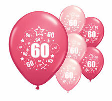 """10 x 60TH BIRTHDAY PINK MIX 12"""" HELIUM OR AIRFILL BALLOONS (PA)"""