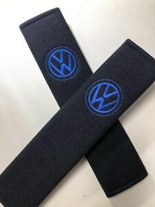 Embroidered-Vw-Universal-Seat-Belt-Shoulder-Pads-Pair-Black-With-Blue-Logo