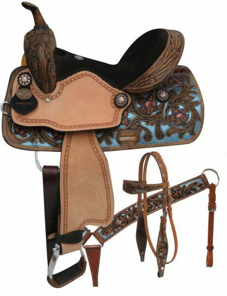 Double T  barrel style saddle set with metallic painted tooling. 14 , 15 ,
