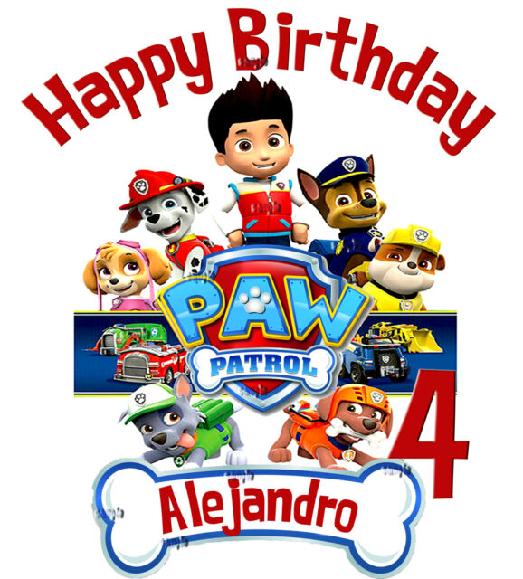 NEW PERSONALIZED CUSTOM PAW PATROL BIRTHDAY SHIRT ADD NAME AGE GIFT FAVORS