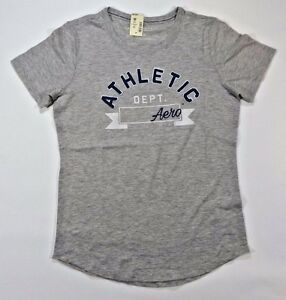 082e76e23 Image is loading Aeropostale-Womens-Girls-T-Shirt-Grey-Casual-Graphic-