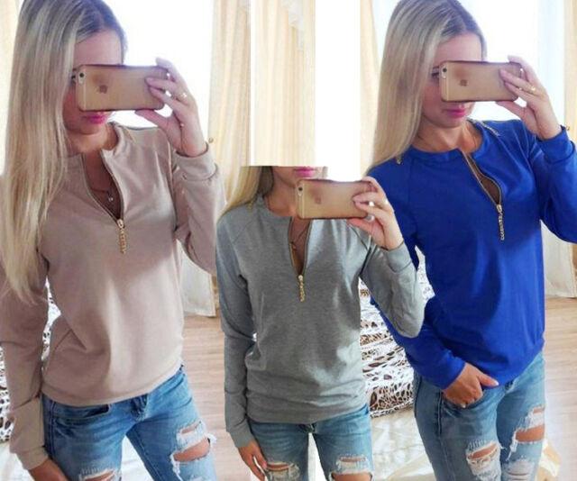 Womens Casual Jumper zip Crew Neck Long Sleeve Pullover Tops Sweater Winter Top