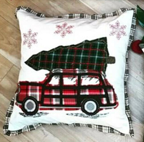 Pottery Barn Home Pillow.Pottery Barn Embroidered Woody Car All The Way Home Pillow Cover Christmas