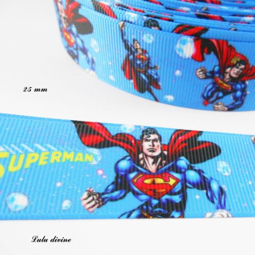Ruban gros grain bleu Superman de 25 mm vendu au mètre