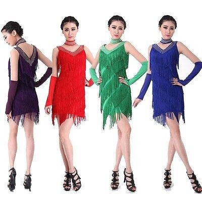 9254da3d60375 【PLUS SIZE】Women Latin Dance Dress up Salsa Tango Tassel Sequins Samba  Costume