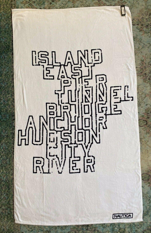 NWT NAUTICA Beach Pool TOWEL NYC white black Island Hudson City River
