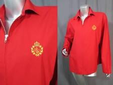 Ralph Lauren Women's Red Cotton Zip Front Jacket Embroidered Crest  Size M